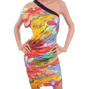 One Shoulder Floral Stria Beach Club Dress